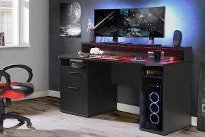 czarne biurko gamingowe tezaur tzrb213