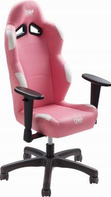 fotel gamingowy różowy omp racing