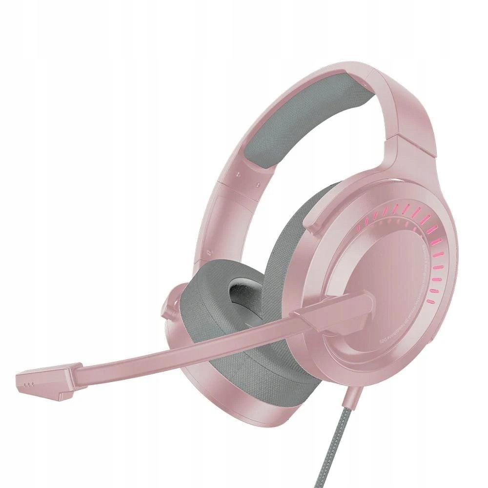 Baseus Słuchawki Stereo Gamingowe 3d Różowe