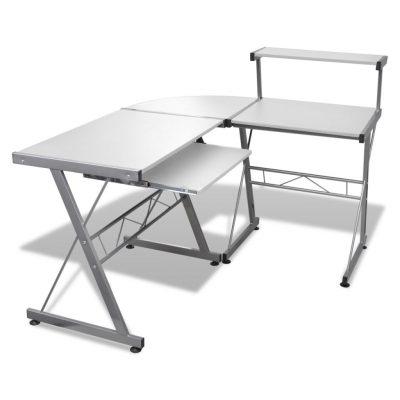 biurko narożne białe vidaxl