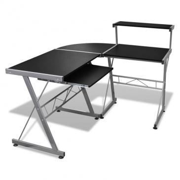 Biurko komputerowe narożne z ruchomą półką na klawiaturę, czarne