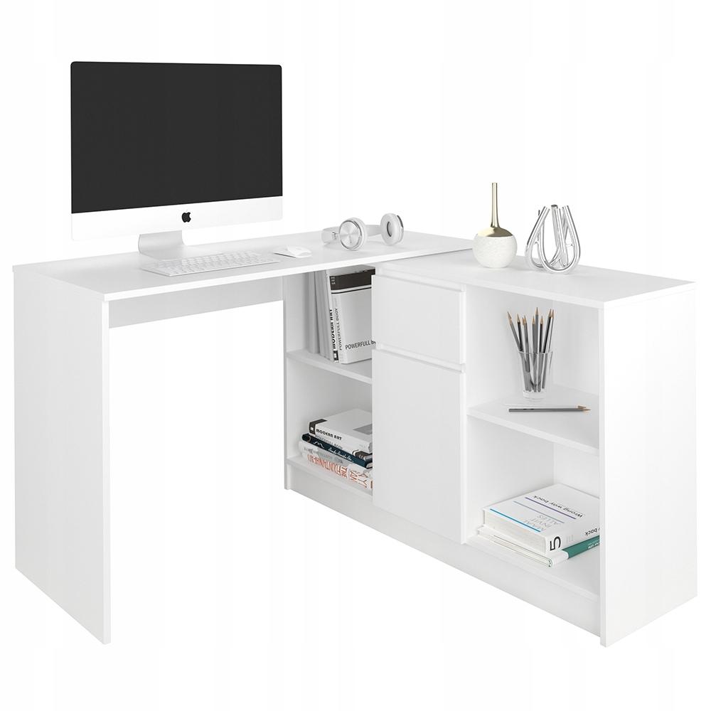 Biurko Narożne I Komoda Zestaw 120cm Białe N14
