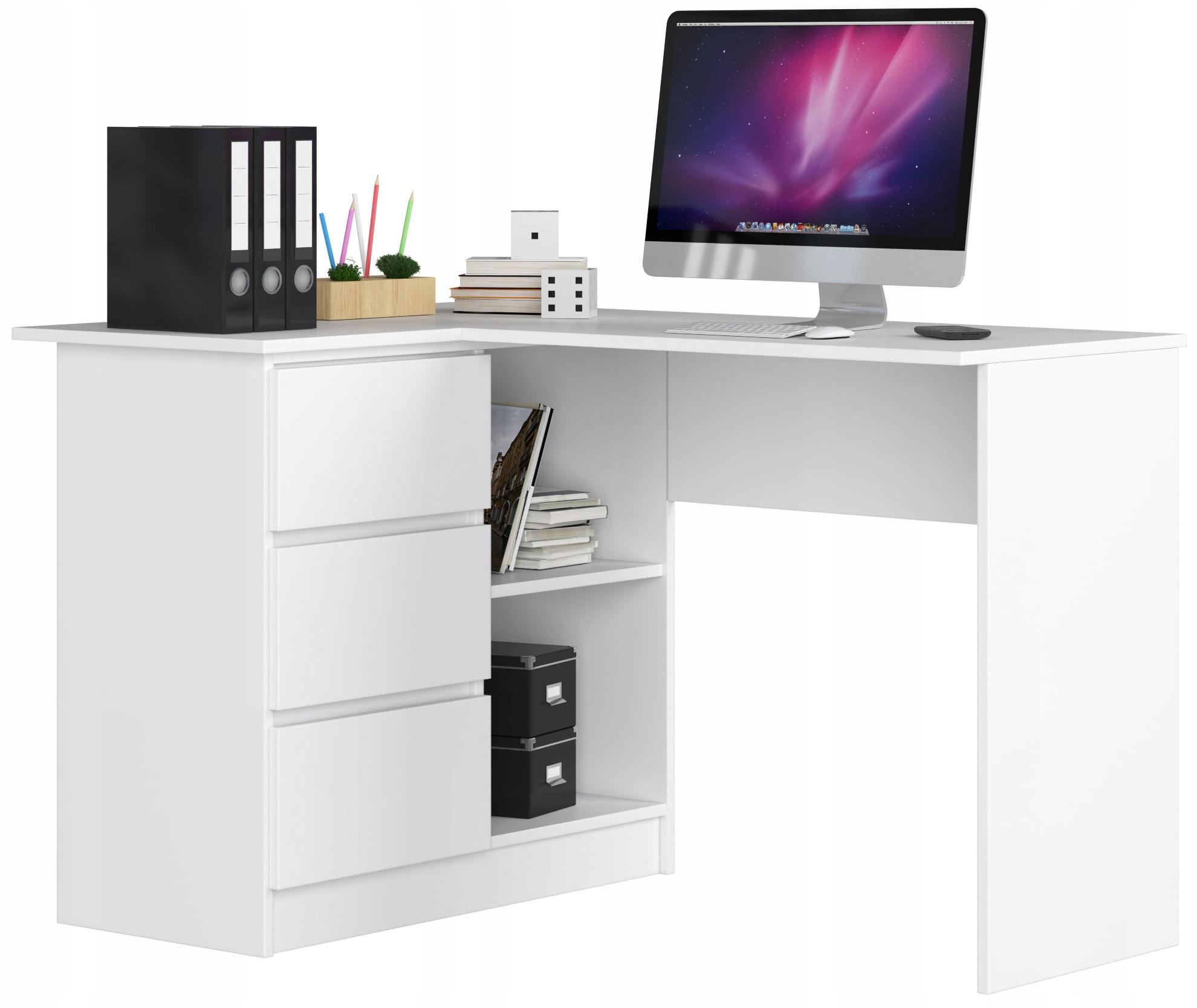Biurko NaroŻne Komputer B16 Lewe 3sz 124cm BiaŁe