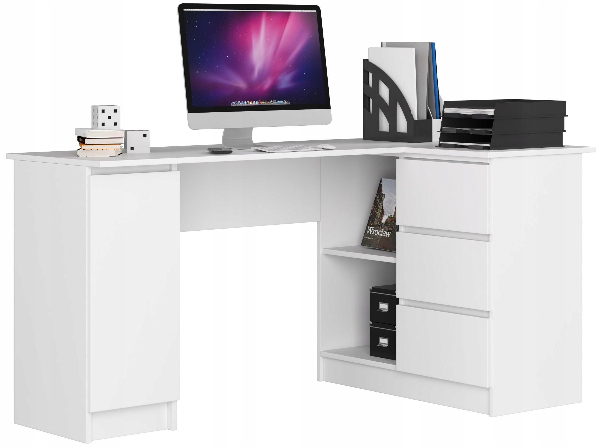 Biurko NaroŻne Komputerowe B20 155cm BiaŁe
