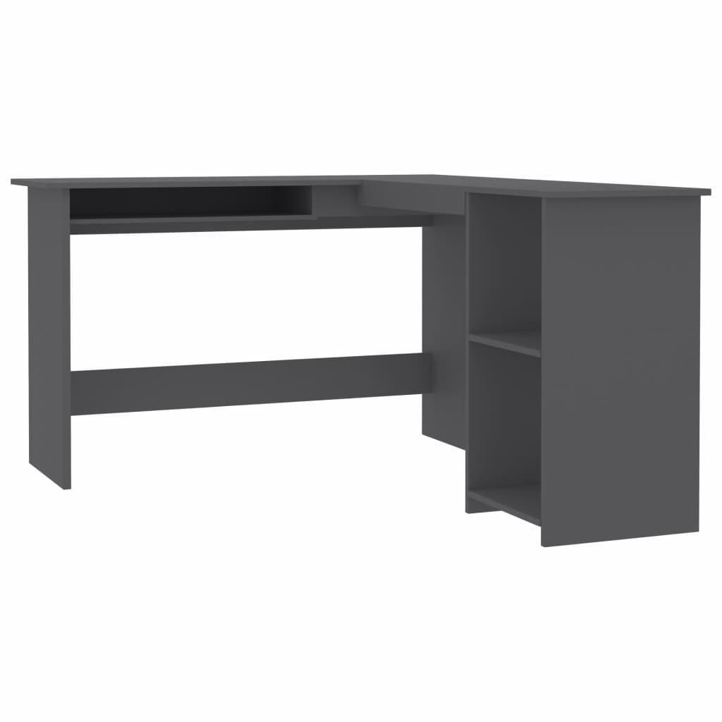 biurko narożne szare z płyty wiórowej