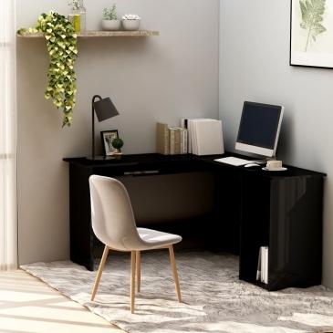 Biurko narożne, wysoki połysk, czarne, 120x140x75 cm