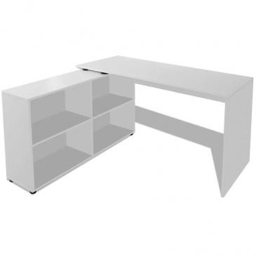Biurko narożne z 4 półkamii, białe