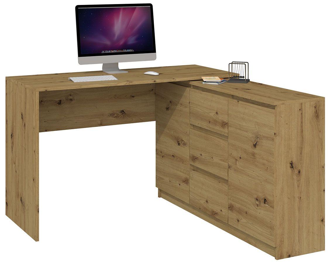 Biurko narożne z komodą Luvis 4X - drewniane