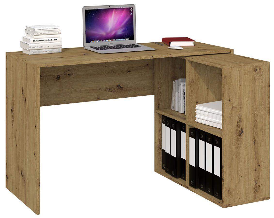 Biurko narożne z regałem Luvis 3X - drewniane