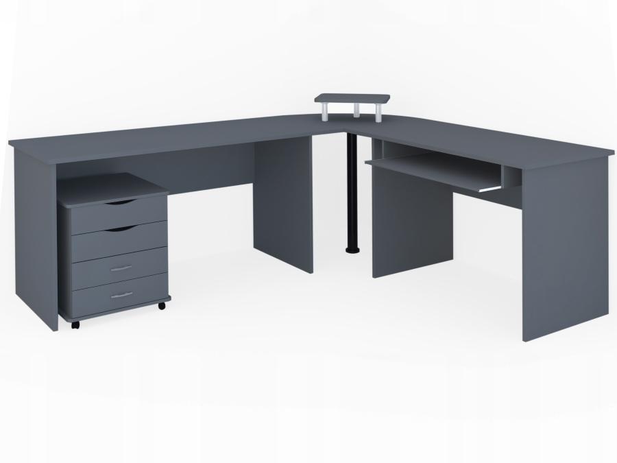 Desk K53 N Biurko Narożne Z Kontenerkiem, Szare