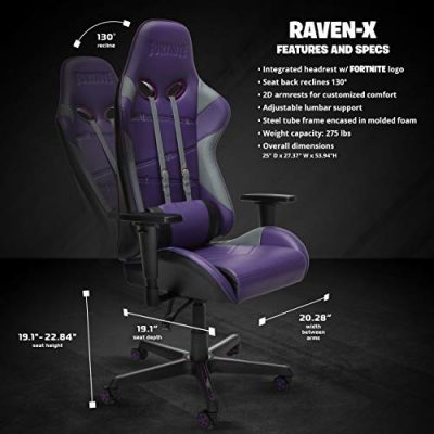 Respawn Raven X Fortnite Gaming Stuhl, Ergonomischer Liegestuhl (raven 04), Leder
